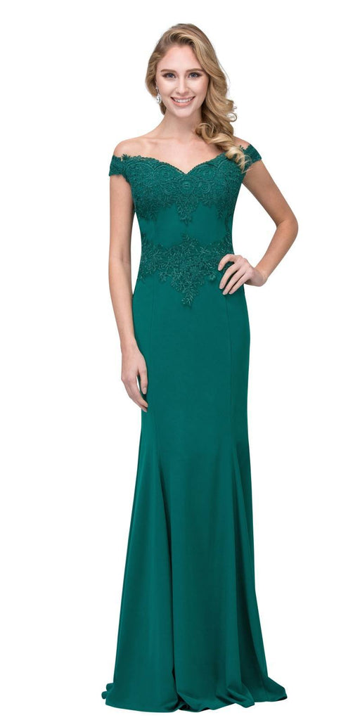 Off Shoulder Long Formal Gown Appliqued Bodice Hunter Green