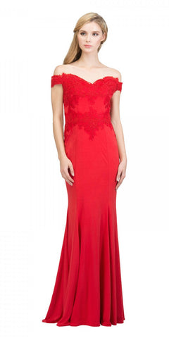 Starbox USA 17421 Off Shoulder Long Formal Gown Appliqued Bodice Red