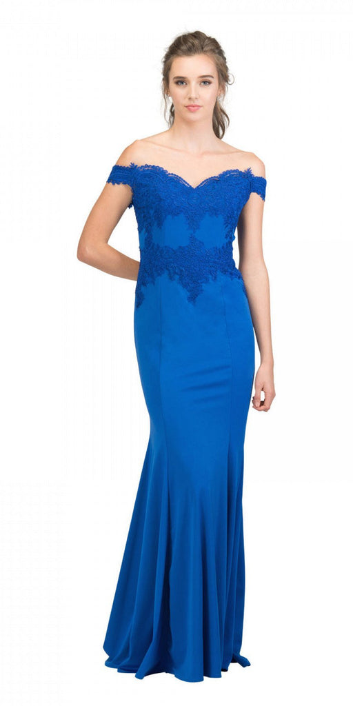 Starbox USA 17421 Off Shoulder Long Formal Gown Appliqued Bodice Royal Blue