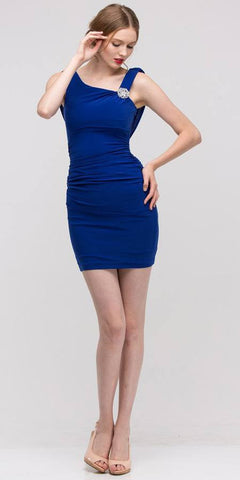 Pleated Natural Waist Sleeveless Short Royal Blue Sheath Dress