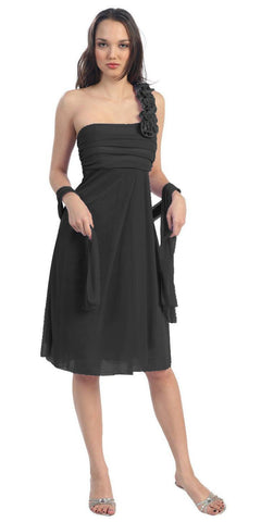 One Shoulder Knee Length Black Chiffon Bridesmaid Dress