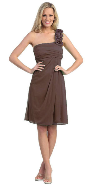One Shoulder Knee Length Brown Chiffon Bridesmaid Dress