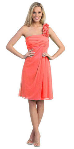 One Shoulder Knee Length Coral Chiffon Bridesmaid Dress