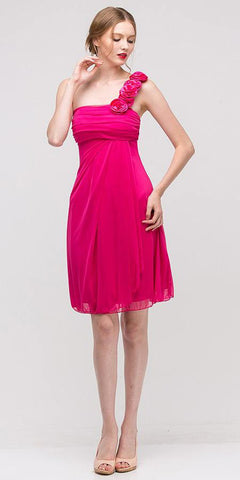 One Shoulder Knee Length Fuchsia Chiffon Bridesmaid Dress