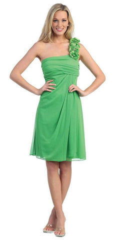 One Shoulder Knee Length Green Chiffon Bridesmaid Dress