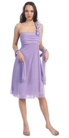 One Shoulder Knee Length Lilac Chiffon Bridesmaid Dress