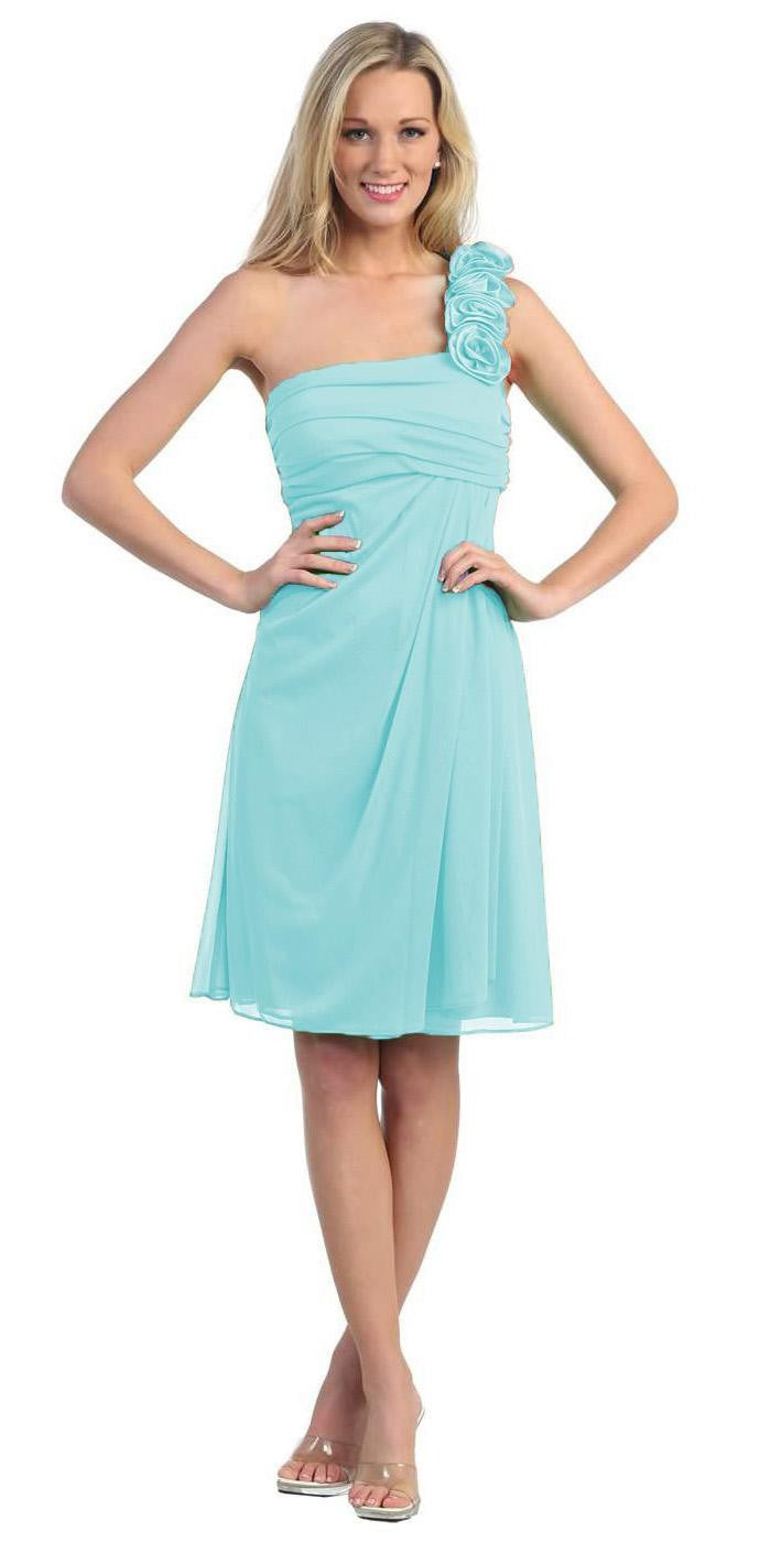 One shoulder knee length teal chiffon bridesmaid dress one shoulder knee length mint chiffon bridesmaid dress ombrellifo Image collections