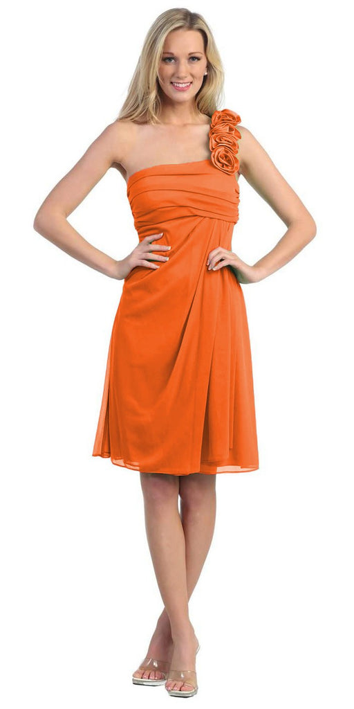 One Shoulder Knee Length Orange Chiffon Bridesmaid Dress