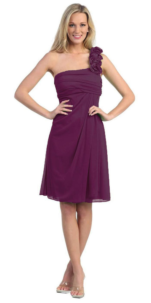 One Shoulder Knee Length Plum Chiffon Bridesmaid Dress