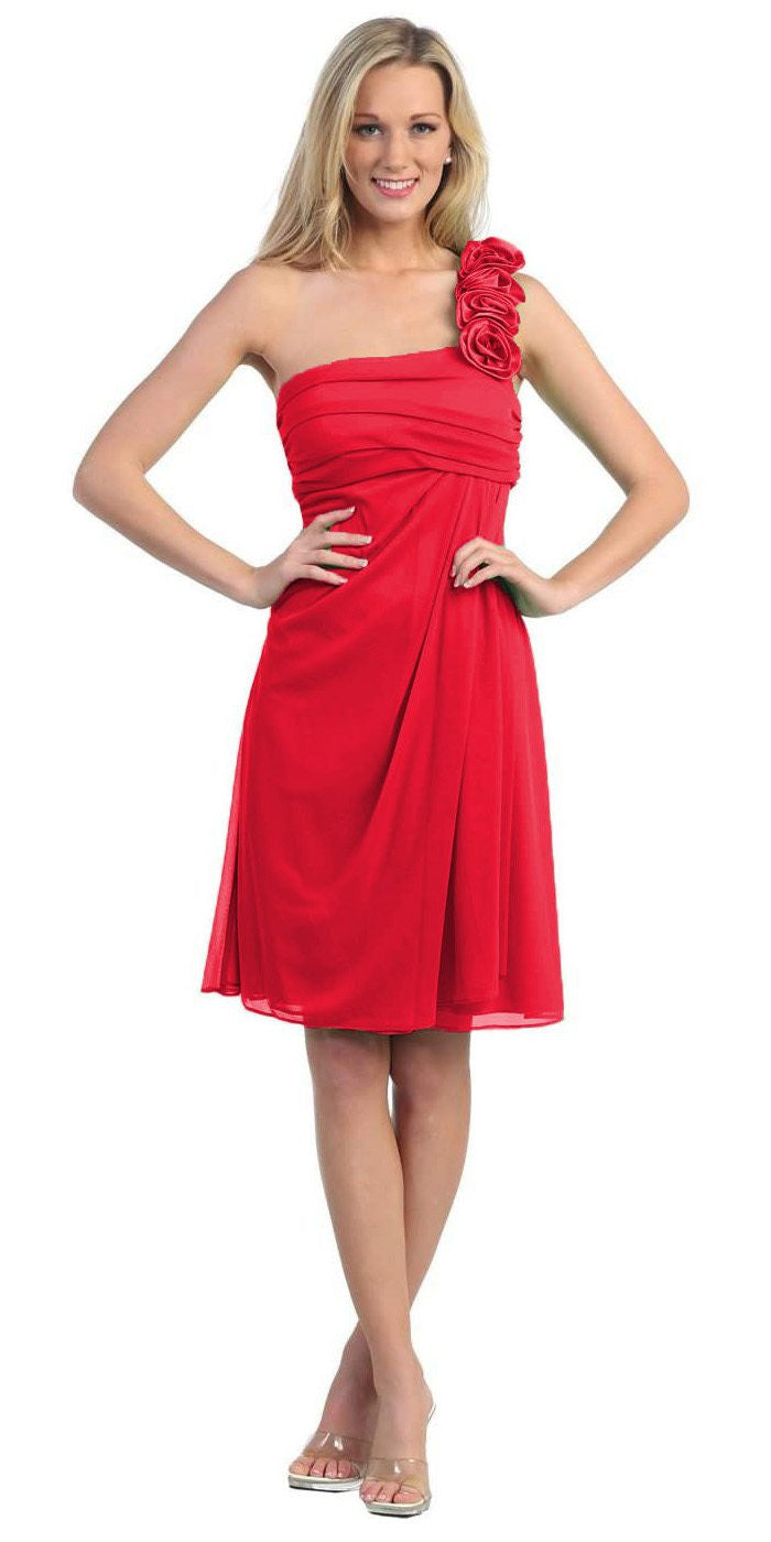 One Shoulder Knee Length Red Chiffon Bridesmaid Dress