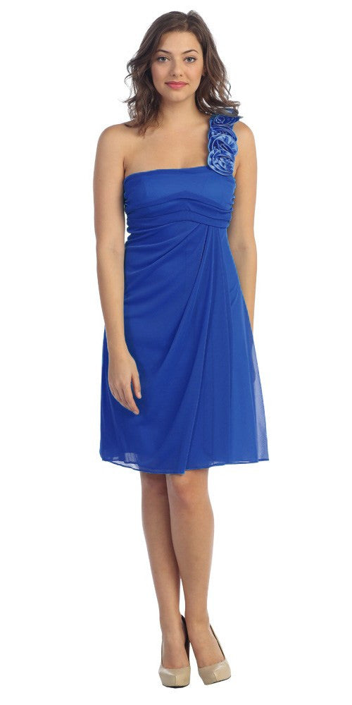 One Shoulder Knee Length Royal Blue Chiffon Bridesmaid Dress