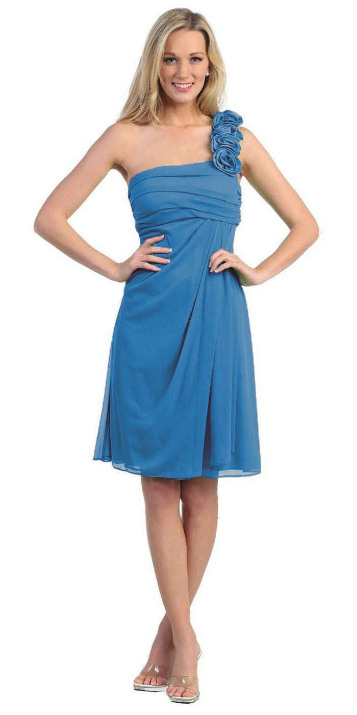 One Shoulder Knee Length Teal Chiffon Bridesmaid Dress