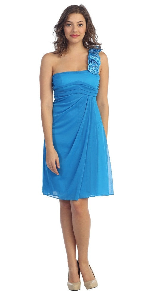 One Shoulder Knee Length Turquoise Chiffon Bridesmaid Dress