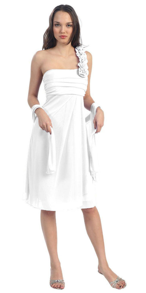 One Shoulder Knee Length White Chiffon Bridesmaid Dress