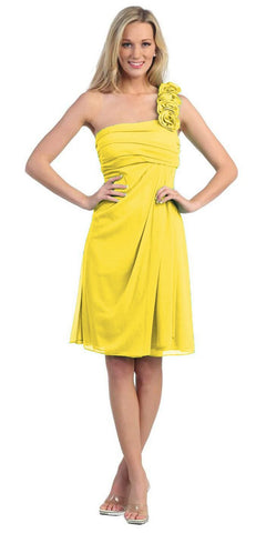 One Shoulder Knee Length Yellow Chiffon Bridesmaid Dress