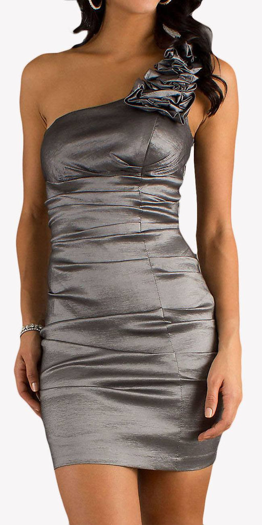 Rosette Studded Single Strapped Charcoal Short Cocktail Dress