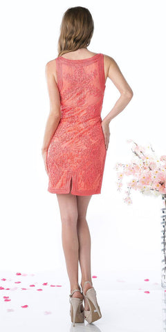 Cinderella Divine 1900 - Vintage Coral Back Lace Dress Short Sleeveless Wide Straps Modest