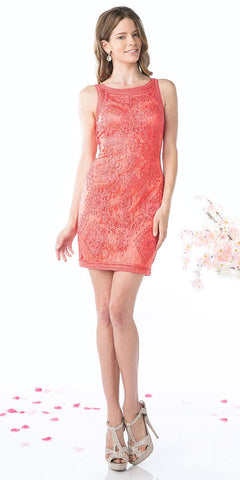 Cinderella Divine 1900 - Vintage Coral Lace Dress Short Sleeveless Wide Straps Modest