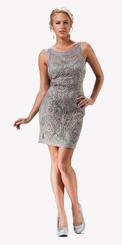 Cinderella Divine 1900 - Vintage Sage Gray Lace Dress Short Sleeveless Wide Straps Modest