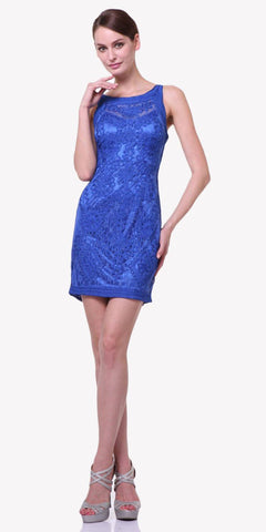 Cinderella Divine 1900 - Vintage Royal Blue Lace Dress Short Sleeveless Wide Straps Modest