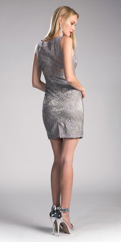 Cinderella Divine 1900 - Vintage Sage Gray Lace Dress Short Sleeveless Wide Straps Modest Back View
