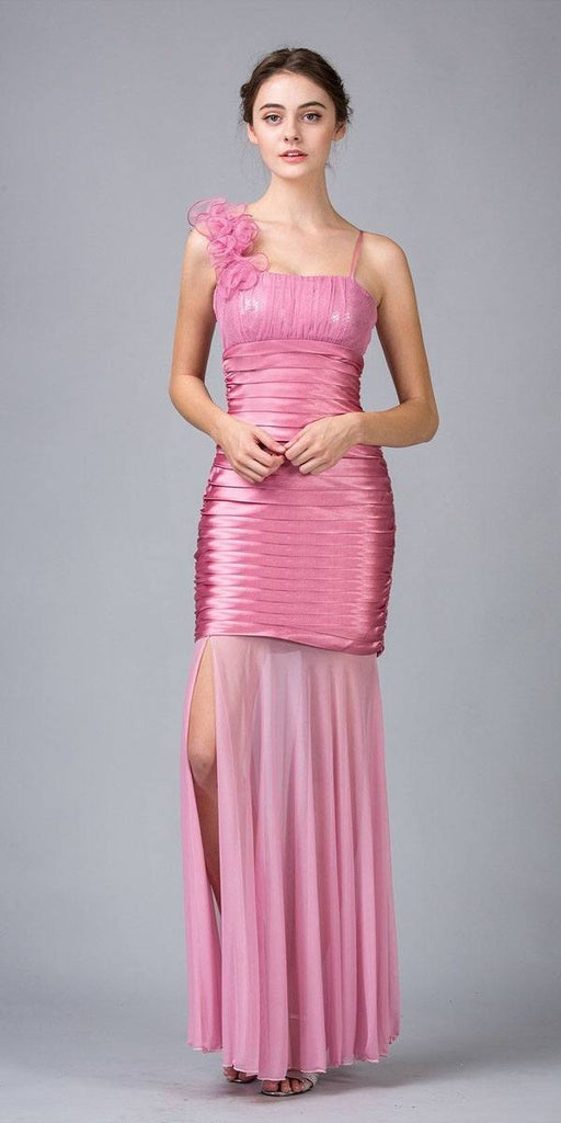 Sheer Skirt Sleeveless Thigh Slit Dusty Pink Long Prom Dress