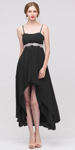 High Low Sleeveless Spaghetti Strap Black Semi Formal Dress