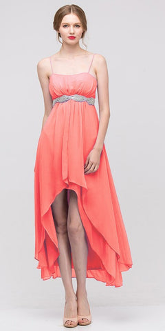 High Low Sleeveless Spaghetti Strap Coral Semi Formal Dress
