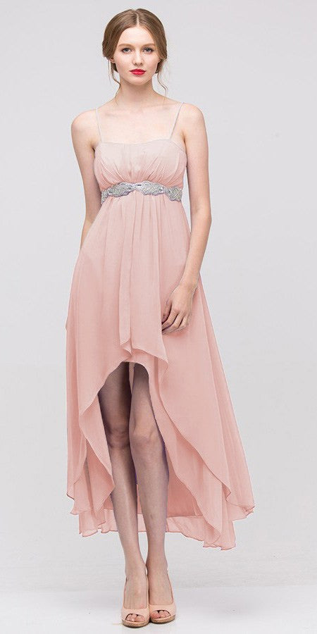 High Low Sleeveless Spaghetti Strap Dusty Pink Semi Formal Dress