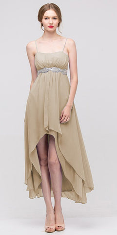 High Low Sleeveless Spaghetti Strap Gold Semi Formal Dress