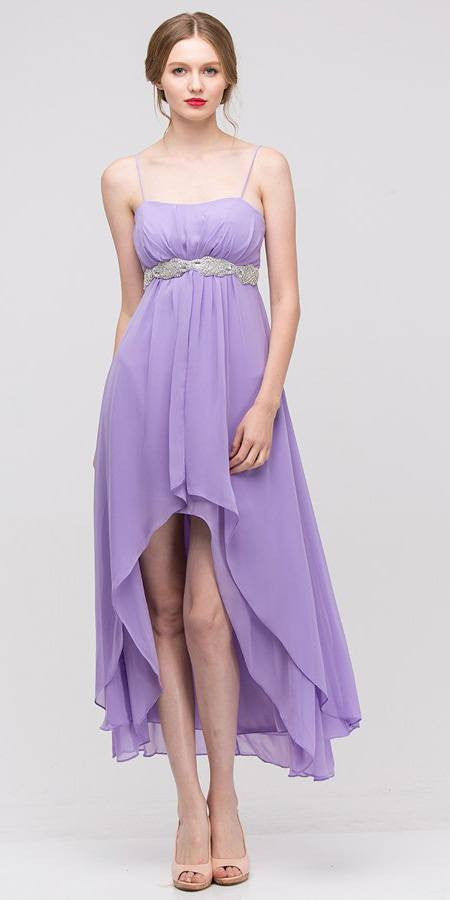 High Low Sleeveless Spaghetti Strap Gold Semi Formal Dress - DiscountDressShop