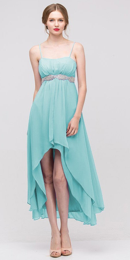 High Low Sleeveless Spaghetti Strap Mint Semi Formal Dress