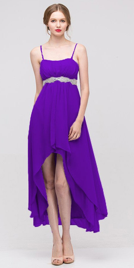 High Low Sleeveless Spaghetti Strap Purple Semi Formal Dress