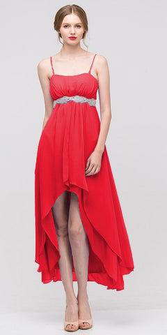 High Low Sleeveless Spaghetti Strap Red Semi Formal Dress