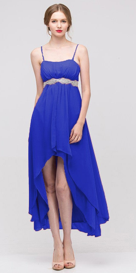 High Low Sleeveless Spaghetti Strap Royal Blue Semi Formal Dress - DiscountDressShop