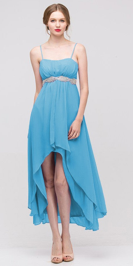 High Low Sleeveless Spaghetti Strap Turquoise Semi Formal Dress - DiscountDressShop