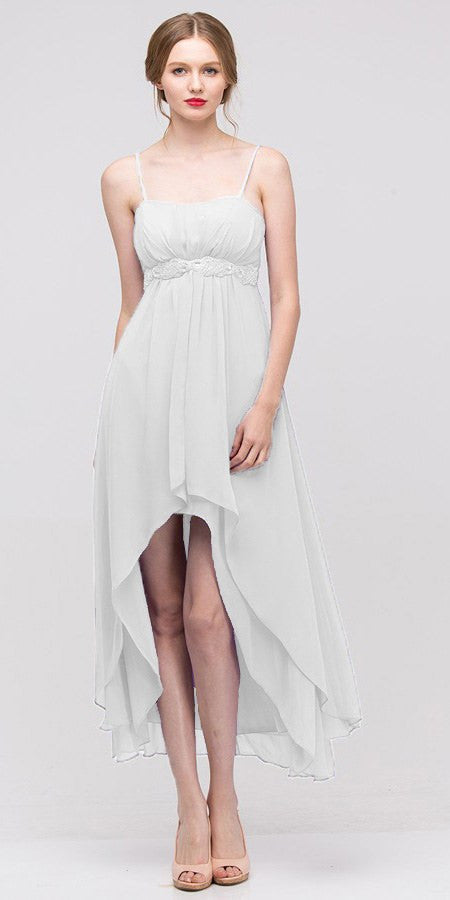 High Low Sleeveless Spaghetti Strap White Semi Formal Dress