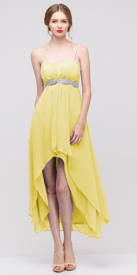 High Low Sleeveless Spaghetti Strap Yellow Semi Formal Dress