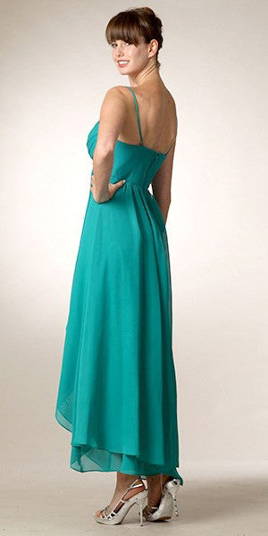 High Low Sleeveless Spaghetti Strap Jade Semi Formal Dress Back