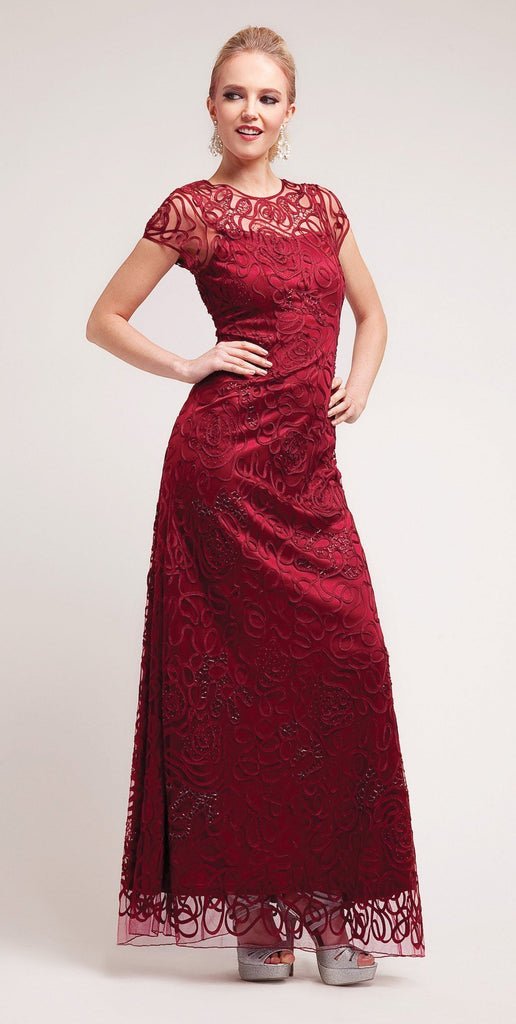 Cinderella Divine 1920 - Semi Formal Long Lace Burgundy Dress Tea Length Short Sleeve