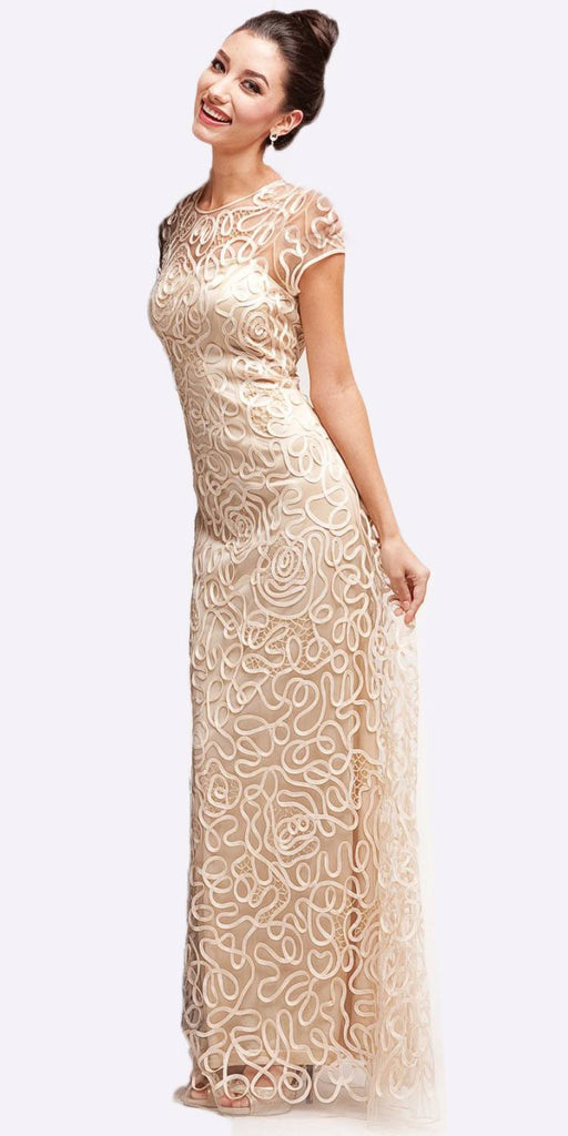 Cinderella Divine 1920 - Semi Formal Long Lace Champagne Dress Tea Length Short Sleeve