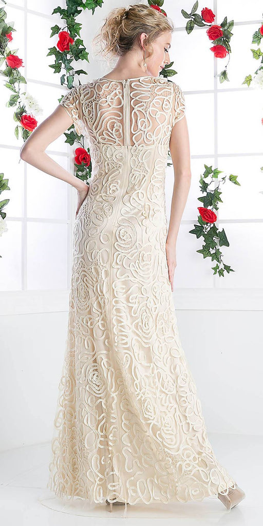 Cinderella Divine 1920 - Semi Formal Long Lace Cream Back Dress Tea Length Short Sleeve