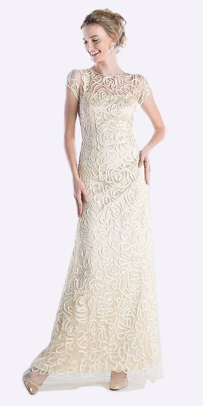 43ab7ad776 Cinderella Divine 1920 - Semi Formal Long Lace Cream Dress Tea Length Short  Sleeve ...