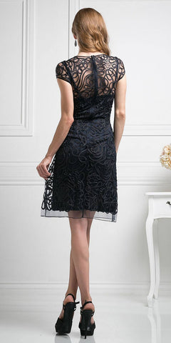 Cinderella Divine 1921 - Semi Formal Knee Length Lace Black Dress Short Sleeve Back