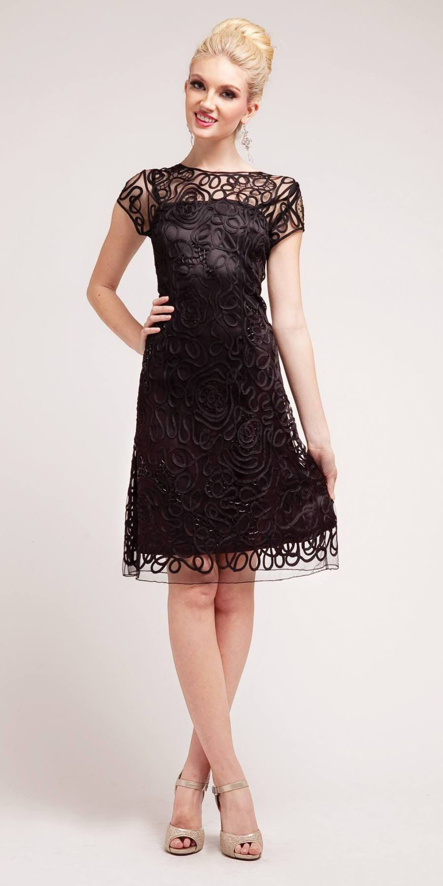 ... Cinderella Divine 1921 - Semi Formal Knee Length Lace Black Dress Short  Sleeve ... 0d37797ba