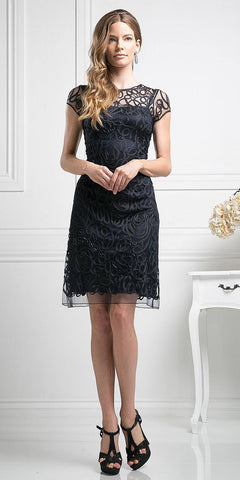 Cinderella Divine 1921 - Semi Formal Knee Length Lace Black Dress Short Sleeve