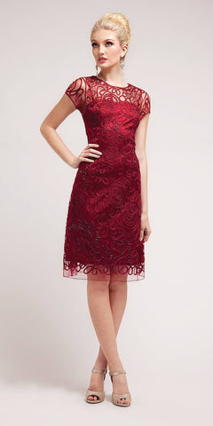 Cinderella Divine 1921 - Semi Formal Knee Length Lace Burgundy Dress Short Sleeve