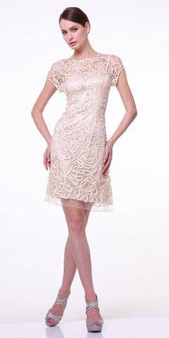 Cinderella Divine 1921 - Semi Formal Knee Length Lace Champagne Dress Short Sleeve
