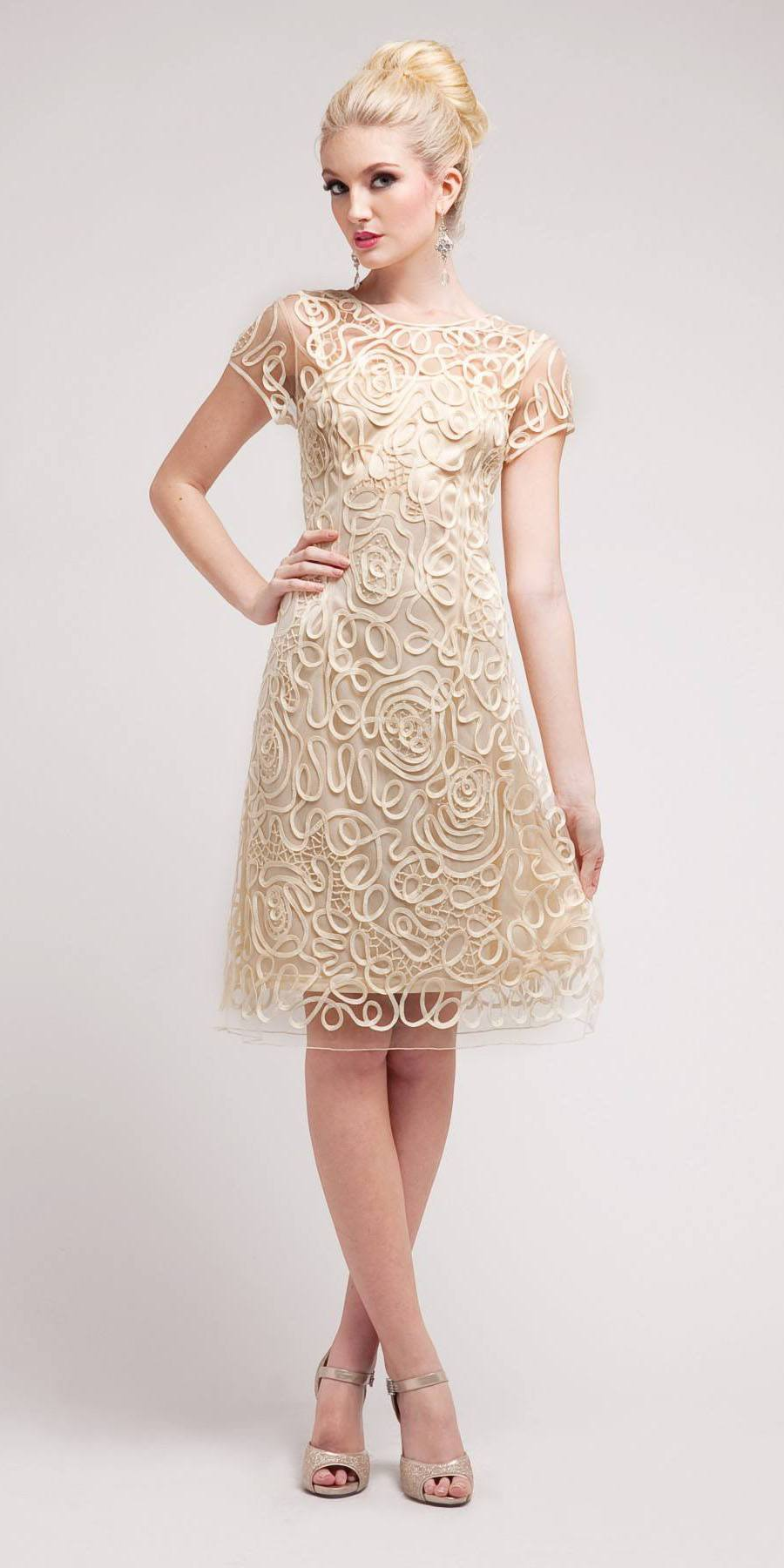 Cinderella Divine 1921 - Semi Formal Knee Length Lace Cream Dress Short  Sleeve ... dbc54c6a3