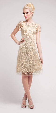 Cinderella Divine 1921 - Semi Formal Knee Length Lace Cream Dress Short Sleeve